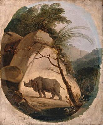 Thomas Daniell Painting - The Indian Rhinoceros by Thomas Daniell