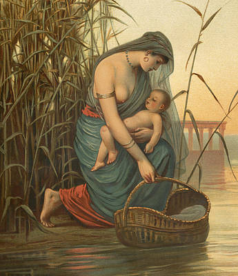 Reeds Drawing - The Infant Moses And His Mother by Philip Richard Morris
