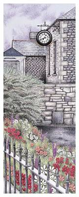 Fence Drawing - The Institute Clock   Caton  Lancashire by Sandra Moore