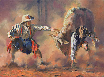 Rodeo Clown Painting - The Insurance Man by Mia DeLode