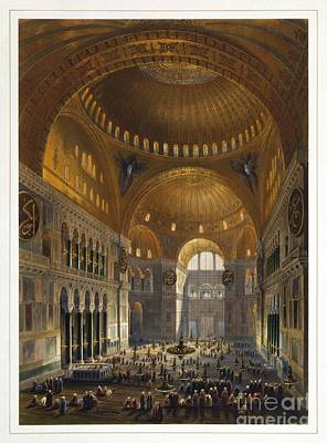 The Interior Of The Ayasofya Mosque From Print by Celestial Images