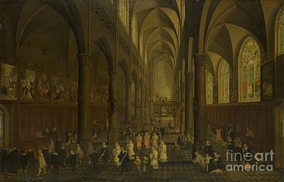 The Interior Of The Dominican Church In Antwerp Print by Celestial Images