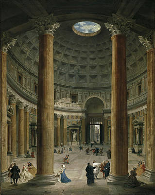 Giovanni Paolo Panini Painting - The Interior Of The Pantheon In Rome by Giovanni Paolo Panini