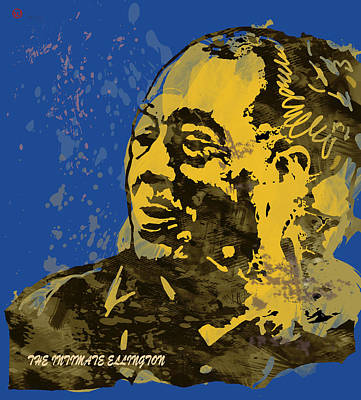 Pablo Mixed Media - The Intimate Ellington Pop Stylised Art Sketch Poster by Kim Wang
