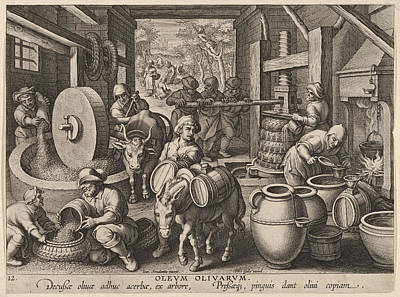 The Invention Of The Olive Oil Press Print by Hans Collaert