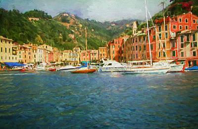 The Italian Village Of Portofino Print by Mitchell R Grosky