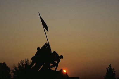The Iwo Jima Memorial Silhouetted Print by Kenneth Garrett