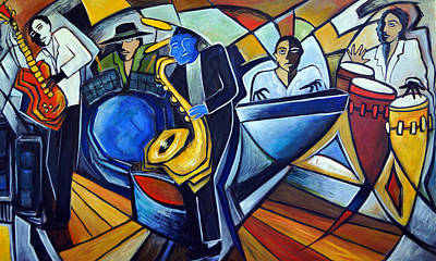 Session Musician Painting - The Jam Session by Valerie Vescovi