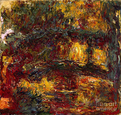 Footbridge Painting - The Japanese Footbridge - Giverny by Claude Monet