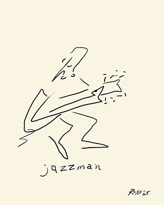 Ink Drawing Drawing - The Jazz Man by Ross Powell