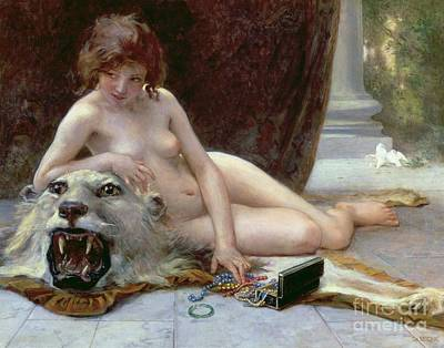 Tigers Print featuring the painting The Jewel Case by Guillaume Seignac
