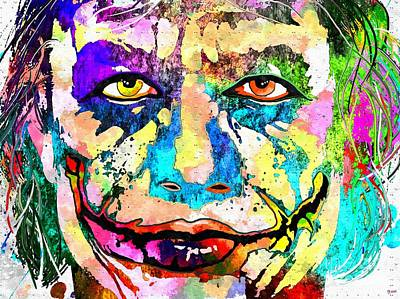 Heath Ledger Mixed Media - The Joker Grunge by Daniel Janda