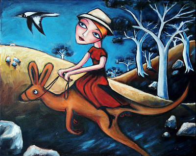 Kangaroo Painting - The Journey Woman by Leanne Wilkes