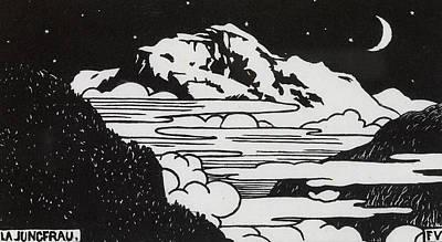 Mountain Drawing - The Jungfrau by Felix Edouard Vallotton