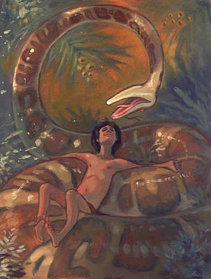 Burmese Python Painting - The Jungle Book - Kaa by Jaimie Whitbread