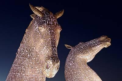 Kelpie Digital Art - The Kelpies At Night by Stephen Taylor