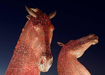 Kelpie Digital Art - The Kelpies Illuminated Red by Stephen Taylor