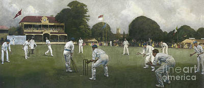 Cricket Painting - The Kent Eleven Champions, 1906 by Albert Chevallier Tayler