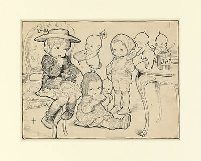 Kewpies Drawing - The Kewpies' Christmas Party by Rose O'Neill