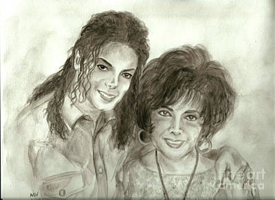 The King Of Pop And Elizabeth Taylor Print by Nicole Wang