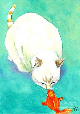 Kitten Painting - The Kiss Between A Cat And Fish by Jingfen Hwu