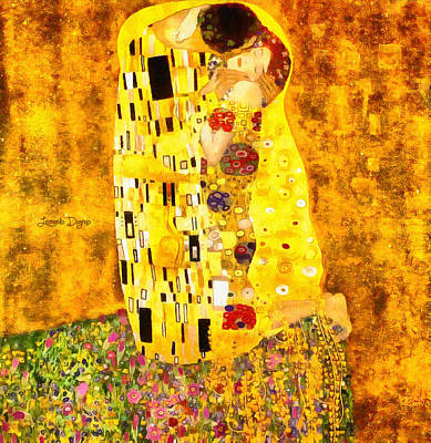 Guy Painting - The Kiss By Gustav Klimt Revisited by Leonardo Digenio