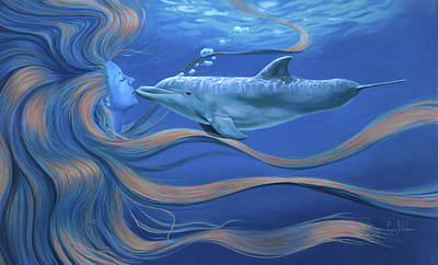 Dolphin Painting - The Kiss by Lucie Bilodeau