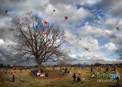 The Kite Eating Tree - Zilker Park Kite Festival - Austin, Texas Print by Bruce Lemons