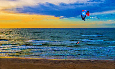 The Kite Surfer And His Early Morning Ride After His Pu Was Stolen Print by Chas Sinklier