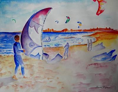 Plumb Painting - The Kiteboarders by Sandy Ryan