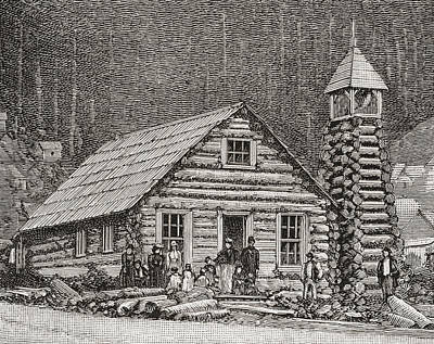 The Klondike Presbyterian Church Print by Vintage Design Pics