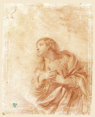 Drawing - The Kneeling Virgin In An Annunciation by Guercino