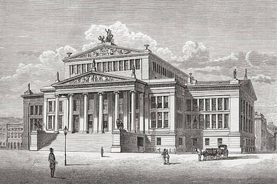 Berlin Drawing - The Konzerthaus Berlin, Gendarmenmarkt by Vintage Design Pics