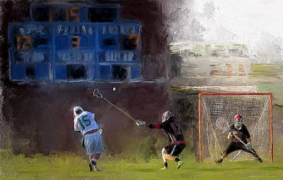 Scott Melby Painting - The Lacrosse Shot by Scott Melby