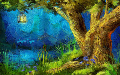 Candle Digital Art - The Lake At Night - Da by Leonardo Digenio
