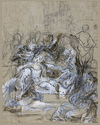 Alessandro Tiarini Drawing - The Lamentation by Attributed to Alessandro Tiarini