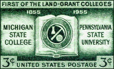 Michigan State Painting - The Land Grant Coleges Stamp by Lanjee Chee