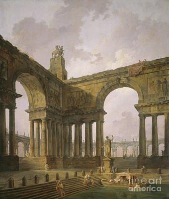 Pillars Painting - The Landing Place by Hubert Robert