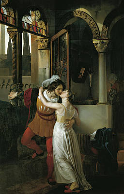 The Last Kiss Of Romeo And Juliet Print by Francesco Hayez