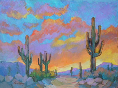 Saguaro Cactus Painting - The Last Light by Diane McClary