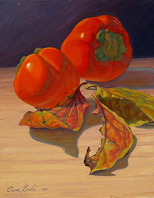 Realistic Painting - The Last Of The Persimmons by Elena Roche
