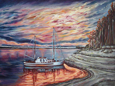 Spirit Catcher Painting - The Last Sunset Before Sailing by Katreen Queen