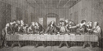 Religious Artist Drawing - The Last Supper After Leonardo Da by Vintage Design Pics
