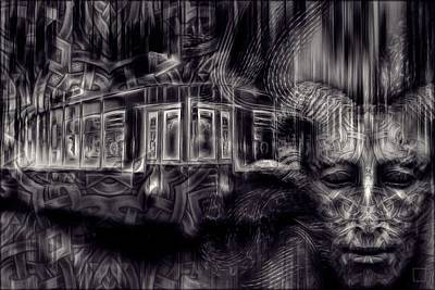 Mystic Photograph - The Last  Tram - Monotone  by Daniel Arrhakis