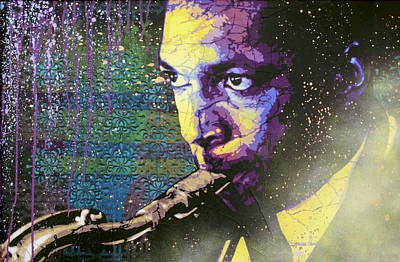 Stencil Art Painting - The Last Trane by Bobby Zeik