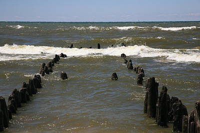 Lake Michigan Mixed Media - The Last Wooden Pier by Robert Pearson