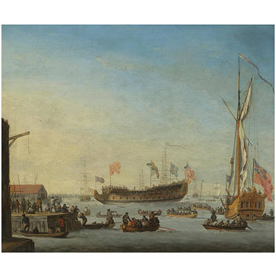Woodcock Painting - The Launch Of A Man Of War by Robert Woodcock