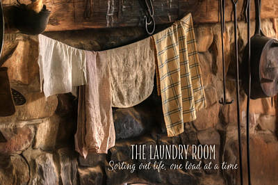 Log Cabins Mixed Media - The Laundry Room by Lori Deiter