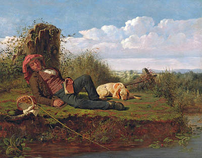 William Ranney Painting - The Lazy Fisherman by William Ranney