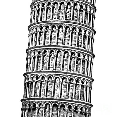 Graphic Drawing - The Leaning Tower Of Pisa Graphic by Edward Fielding